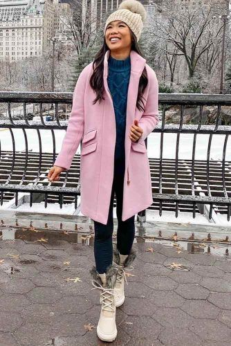 Pink Coat With Snow Boots Outfit #sweater #hat