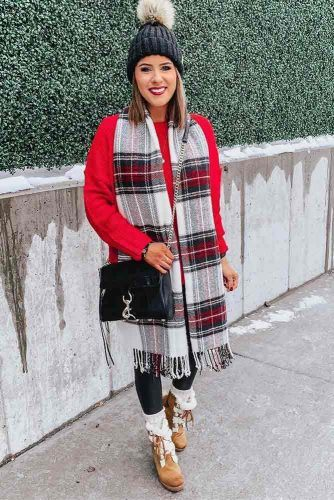 Sweater With Plaid Scarf Winter Outfit #plaidscarf #redsweater