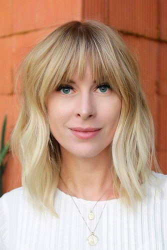 Medium Length Blonde Hairstyle With Bang #blondehair #layeredhair