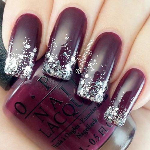 Silver Glitter Ombre Nails #glotternails #ombrenails #burgundynails