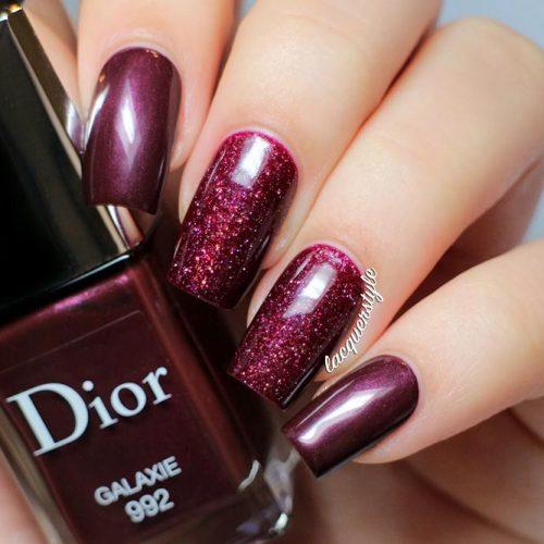 Shiny Burgundy Nail Design #squarenails #burgundynails