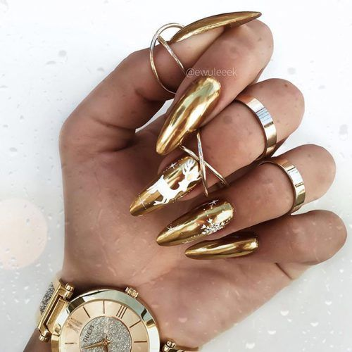 Gold Holiday Nails #goldnails #chromenails