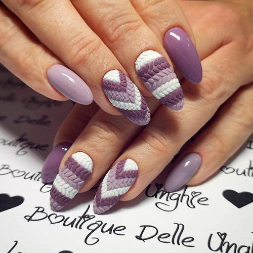 Mauve Nail Color For Winter #texturednails #knittednails