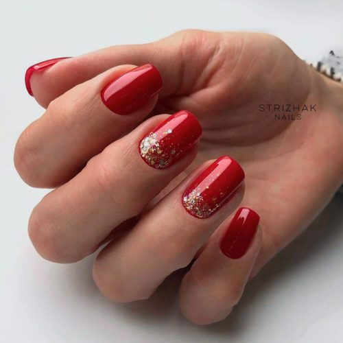 REd Nails With Gold Foil #rednails #shortnails