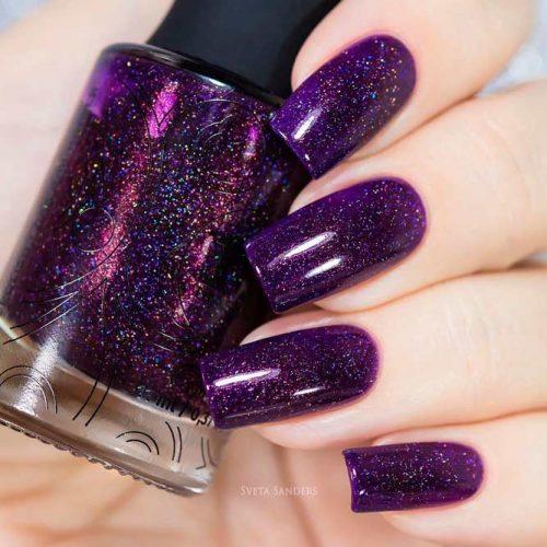Sparkly-Dark Purple #squarenails #simplenails