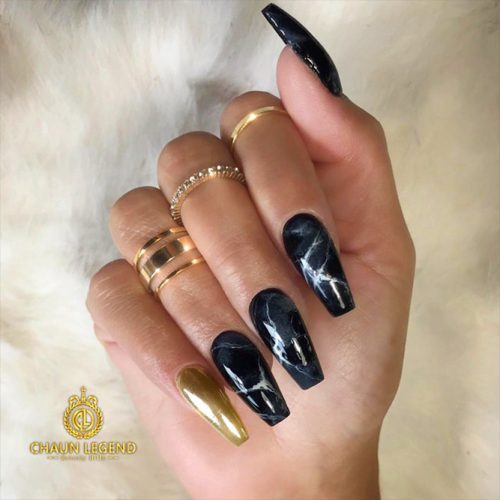 Black Nails with Marble Designs Picture 2