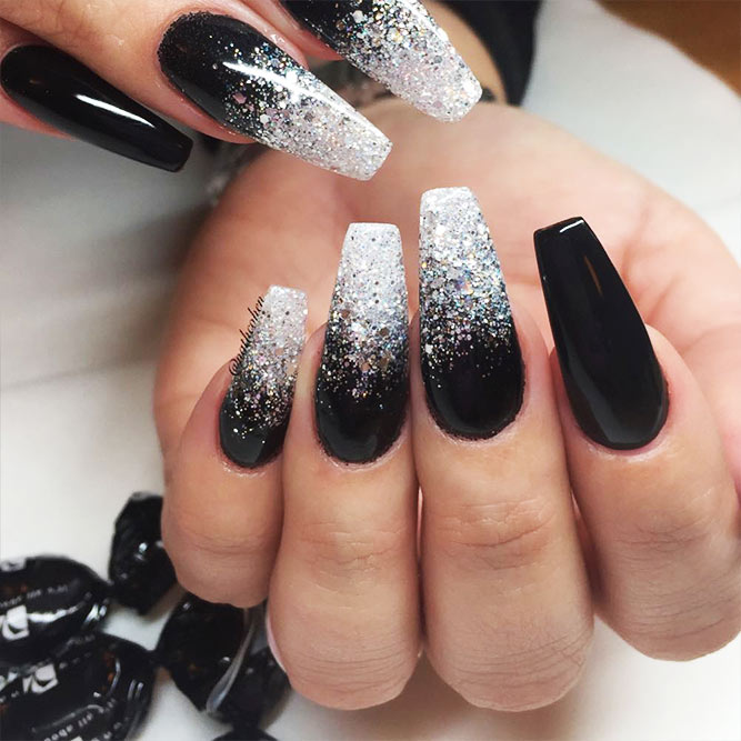 Black Nails Ombre with Silver Shimmer Picture 2
