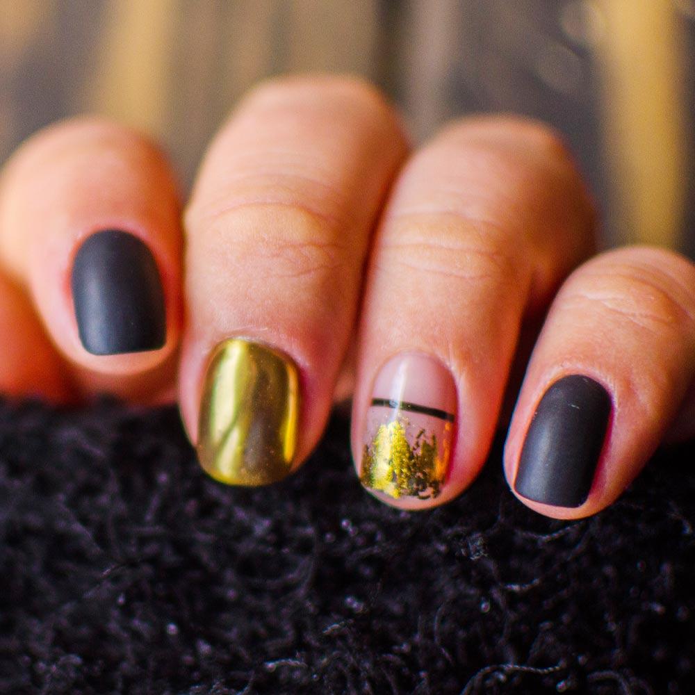Black Matte Nails with Gold Foil