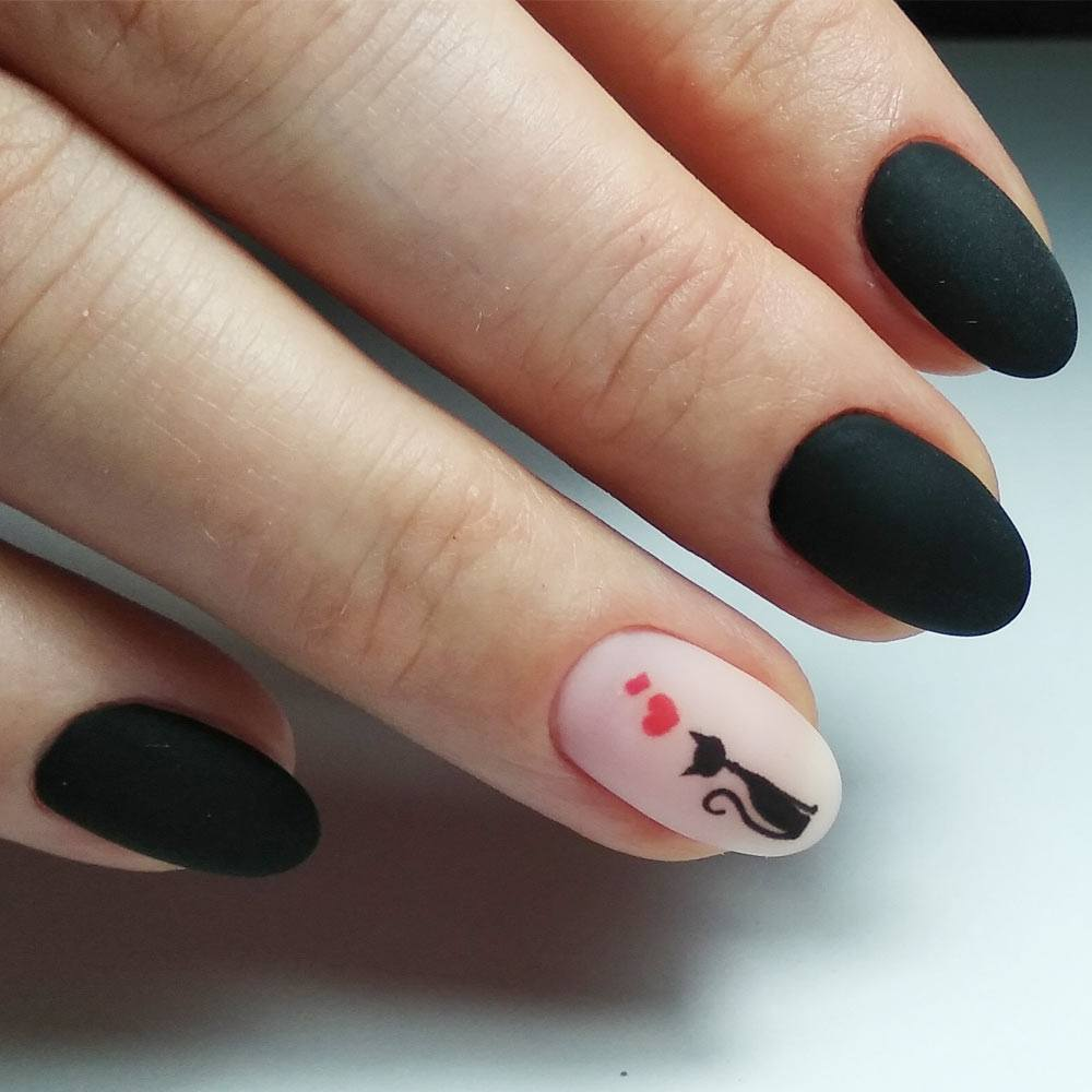 Black Matte Nails with Accented Nail