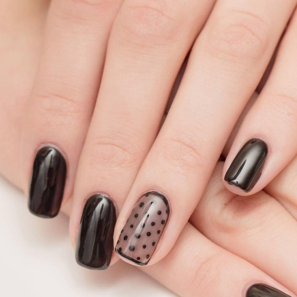 Black Nails with Polka Dots Design