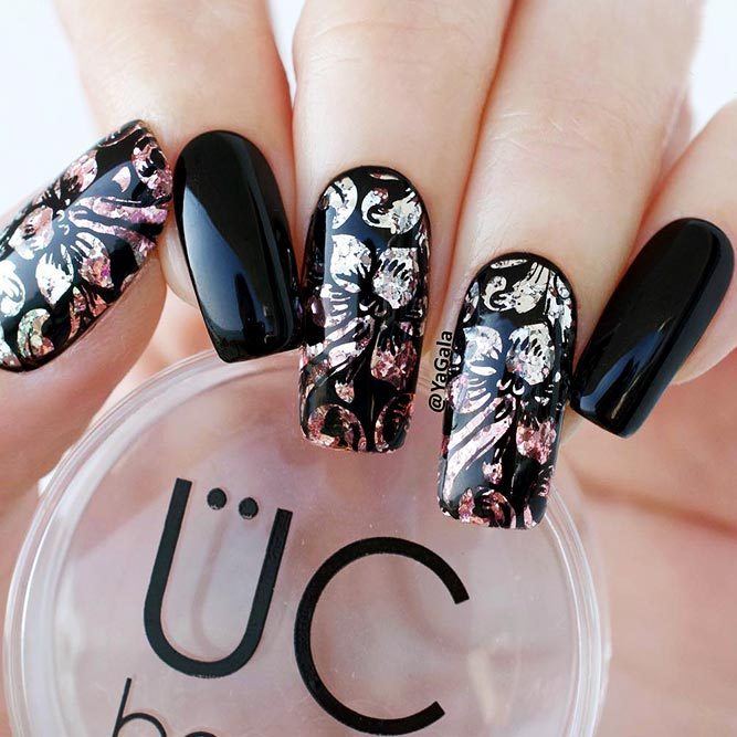 Black Nails with Bright Glitter Designs Picture 1