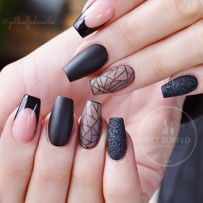 Black Nails with Geometric Designs Picture 3