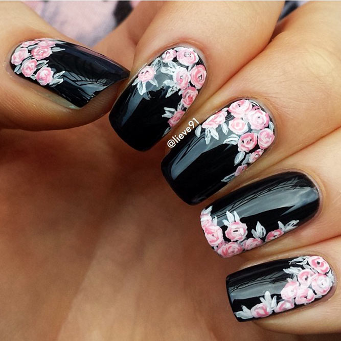 Black Nails with Floral Design Picture 2