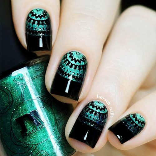 Creative Black Nail Designs with Patterns Picture 3