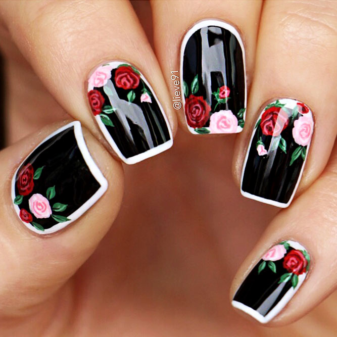 Black Nails with Floral Design Picture 6
