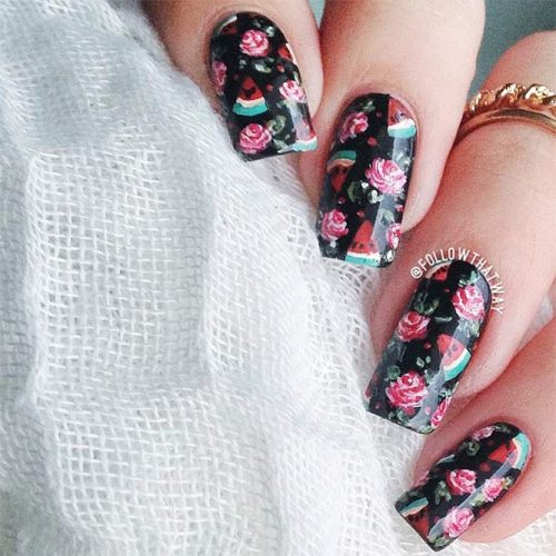 Black Nails with Floral Design Picture 5