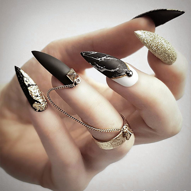 Black Nails with Marble Designs Picture 1