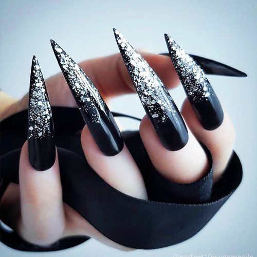 Black Nails Ombre with Silver Shimmer Picture 1