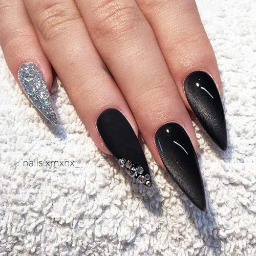 Black Nails with Bright Glitter Designs Picture 2