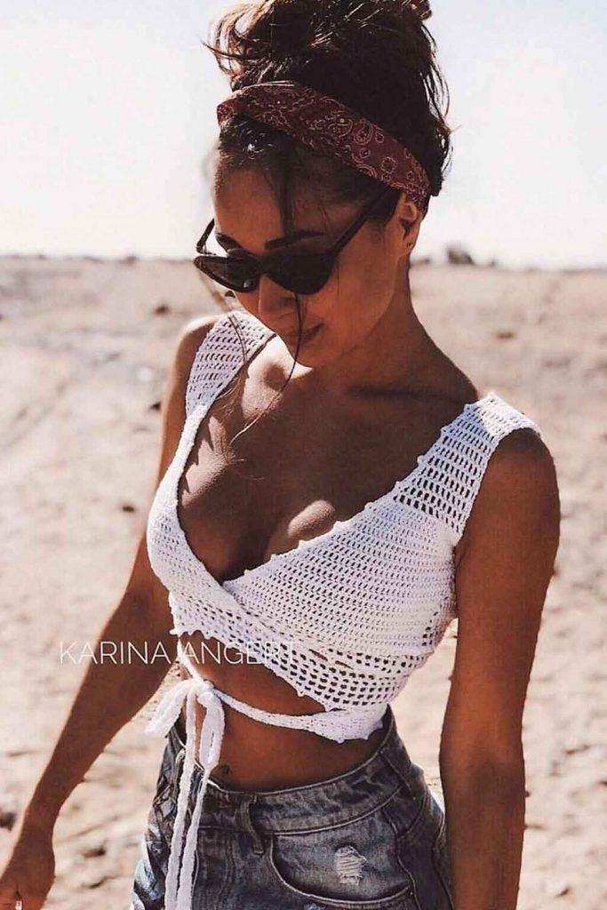 White Crochet Halter Bralette #whitebralette