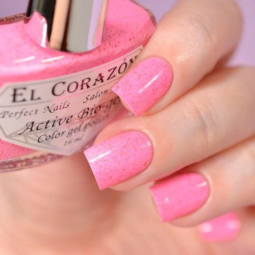 Baby Pink Nails With Glitter #glitternails #shortnails #pinknails