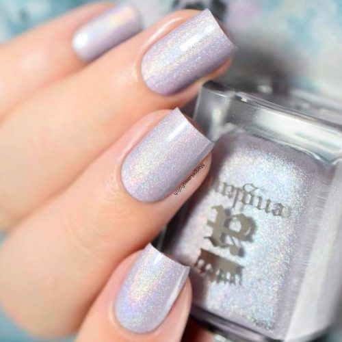 Holographic Grey Nails #holhonails #silvernails #squarenails