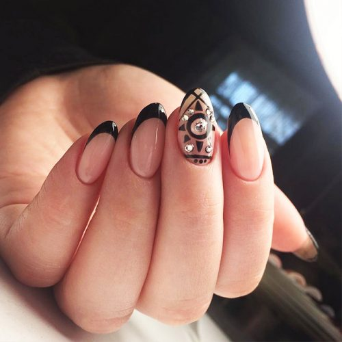 French Manicure with Unusual Nail Colors Picture 1