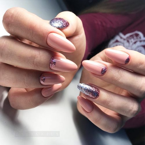 Nude Nail Colors with Half Moon Design Picture 2