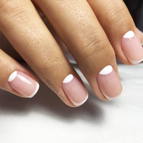 Nude Nail Colors with Half Moon Design Picture 1