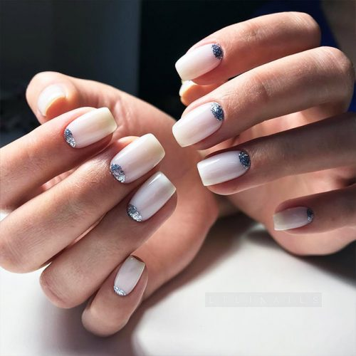 Nude Nail Colors with Half Moon Design Picture 3