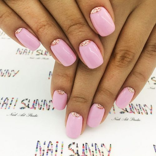 Nude Nail Colors with a Half Moon Design Picture 6