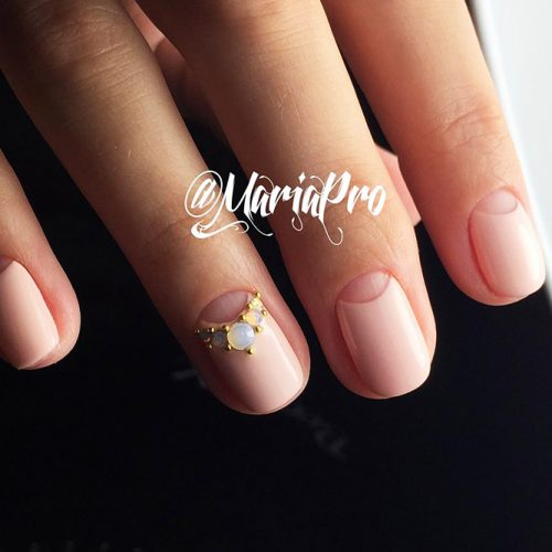Nude Nail Colors with a Half Moon Design Picture 5