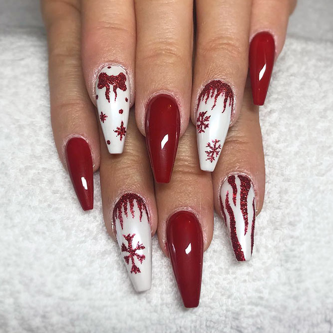 Christmas Red Nails for a Holiday Party Picture 4