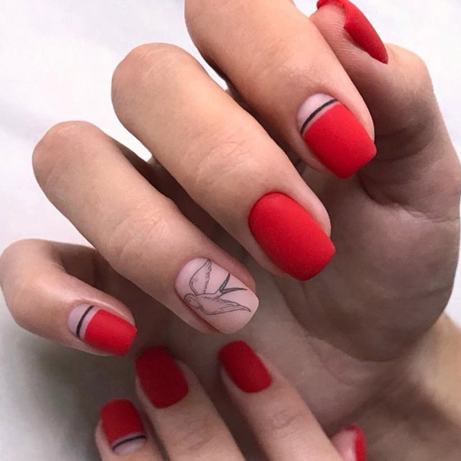 Patterned Red Nail Design