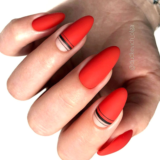 Red Matte Nail Design With Striped Art