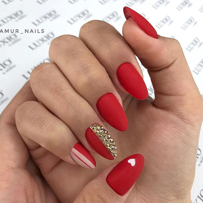 Mix Red Nail Design With Gold Crystals