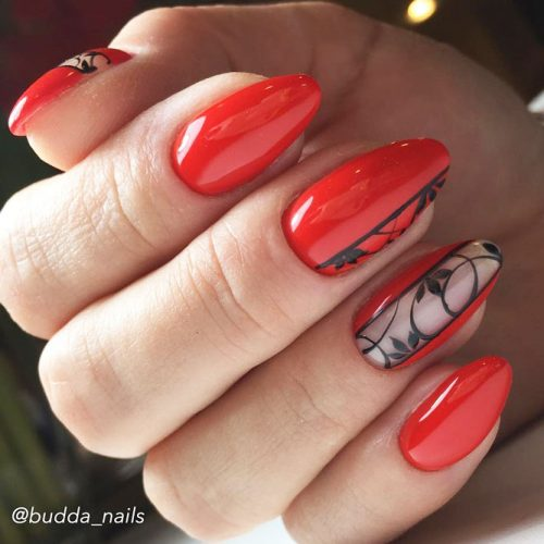 Red Nail Design With Pattern