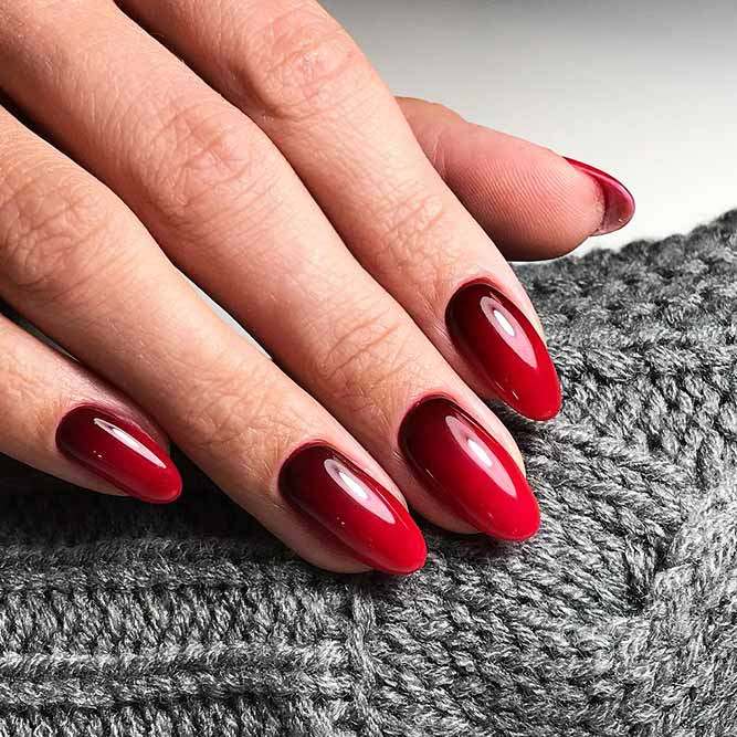 Red Nails with Ombre Design Picture 1