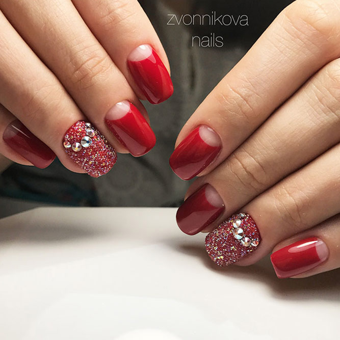Half Moon Design for Red Nails Picture 1