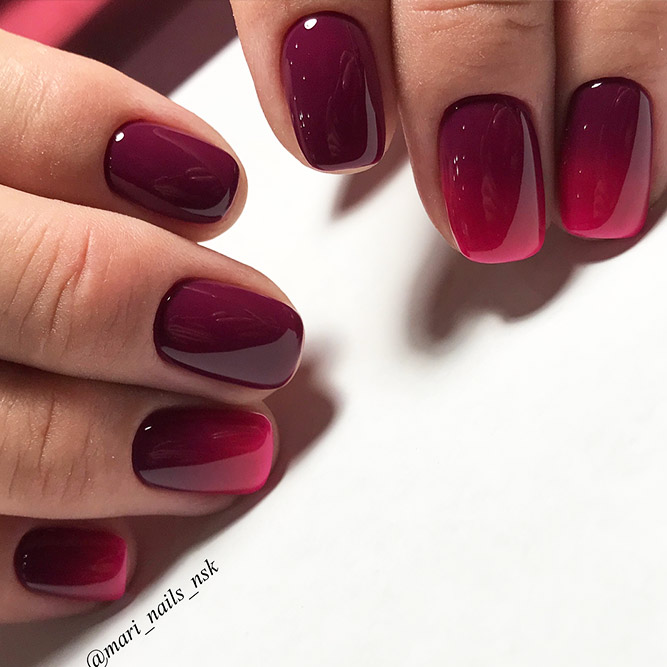 Red Nails with Ombre Design Picture 2