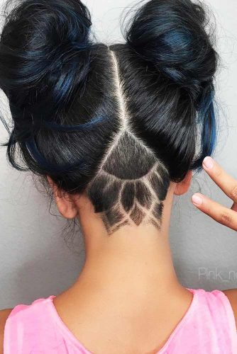 Cute Colorful Undercut Ideas with Hair Tattoos Picture 6