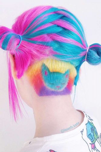 Cute Colorful Undercut Ideas with Hair Tattoos Picture 2