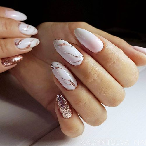Marble Patterns on White Nails Picture 1