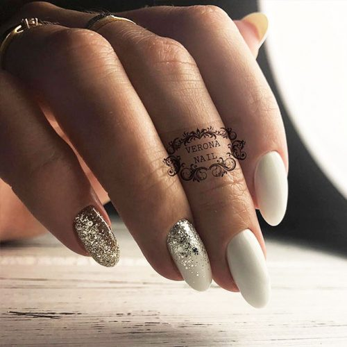 White Nails with Glitter for Bright Look Picture 2