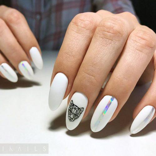 Geometric White Nails Picture 3