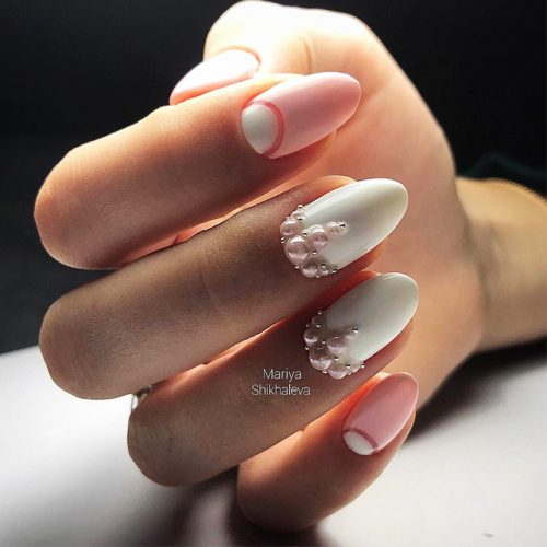 White Nails with Stones Picture 3