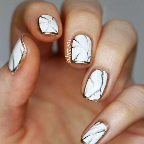 Marble Patterns on White Nails Picture 4