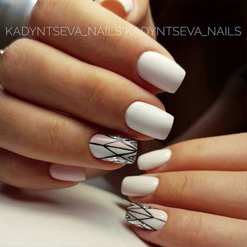 Geometric White Nails Picture 2