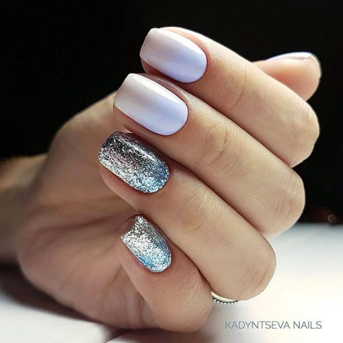 White Nails with Glitter for Bright Look Picture 1