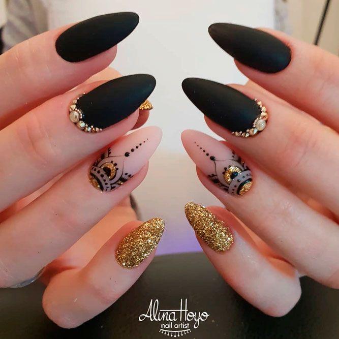 Matte Black Nails With Mandala Nail Art #mattenails #glitternails #almondnails